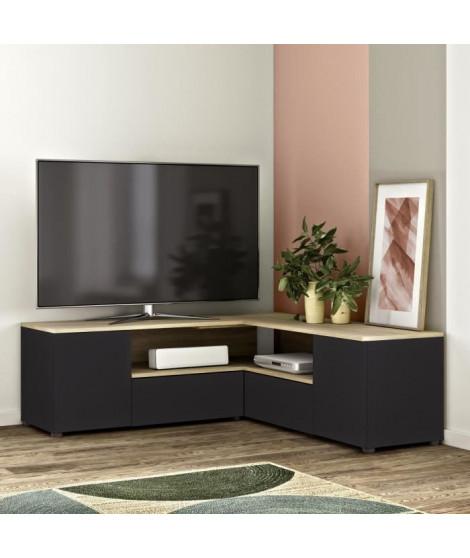 Meuble TV d'angle 4 portes - Décor chene et noir - L 130 x P 130 x H 46 cm