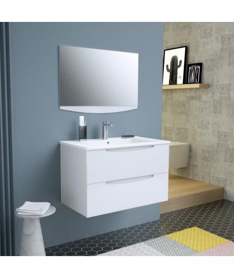 SMILE Salle de bain simple vasque + miroir L 80 cm - 2 tiroirs a fermeture ralenties - Blanc