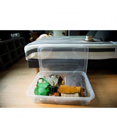 EDA PLASTIQUE Coffre de rangement dessous de lit Gigabox 60 L - Naturel - 80 x 60 x 17 cm