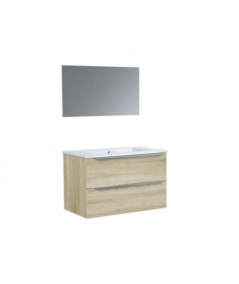 Ensemble meuble de de salle de bain L 80 - 2 tiroirs + Vasque céramique + miroir - ZOOM