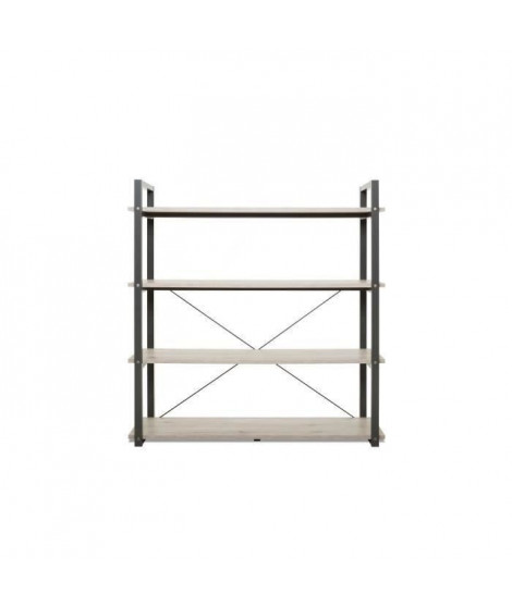 BROOKLYN - Bibliotheque style industriel décor chene et anthracite - L 138 cm