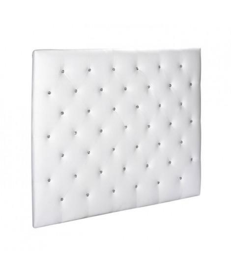 SOGNO Tete de lit capitonnée style contemporain - Simili blanc - Boutons cristal - L 140 cm