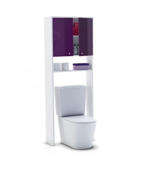 CORAIL Meuble WC ou machine a laver L 63 cm - Aubergine Laqué