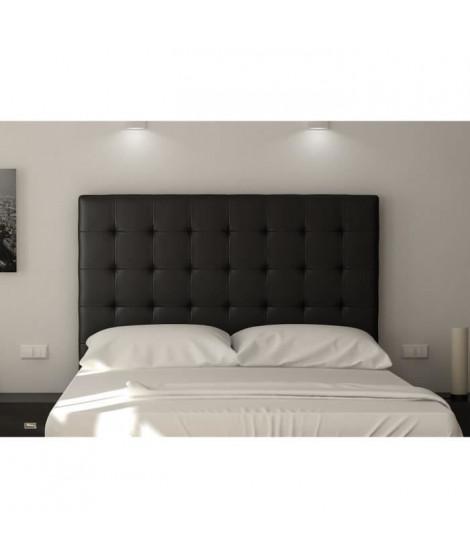SOGNO Tete de lit capitonnée - Simili noir - L 140 cm