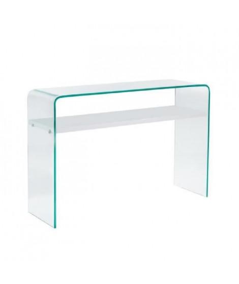 CLEAR Console style contemporain en verre trempé transparent laqué blanc brillant - L 110 cm