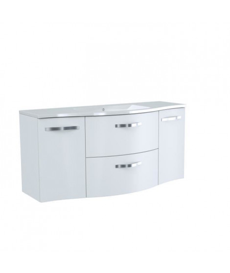 Meuble salle de bain L 120 cm - 2 tiroirs 2 portes + Vasque - Blanc - ONDE