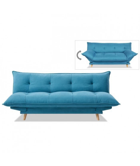SOFTY Banquette convertible - Tissu bleu - Pieds bois clair - L 191 x P 50 x H 83 cm
