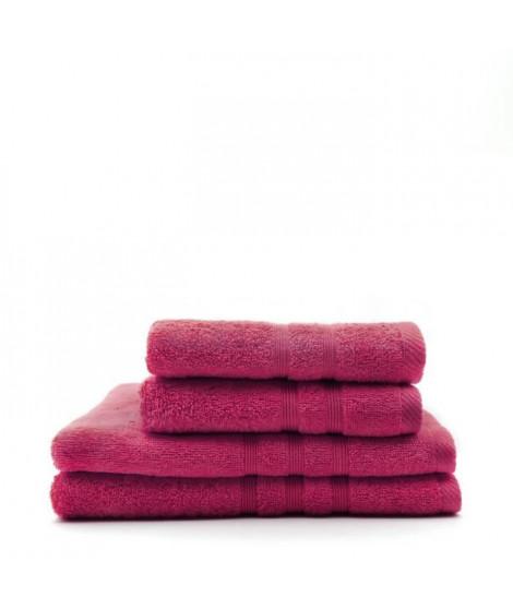 TODAY Lot de 2 Serviettes 50 x 100 cm + 2 Draps de bain 70 x 130 cm - 100% Coton - Jus de myrtille