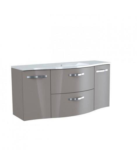 Meuble salle de bain L 120 cm - 2 tiroirs 2 portes + Vasque - Taupe - ONDE