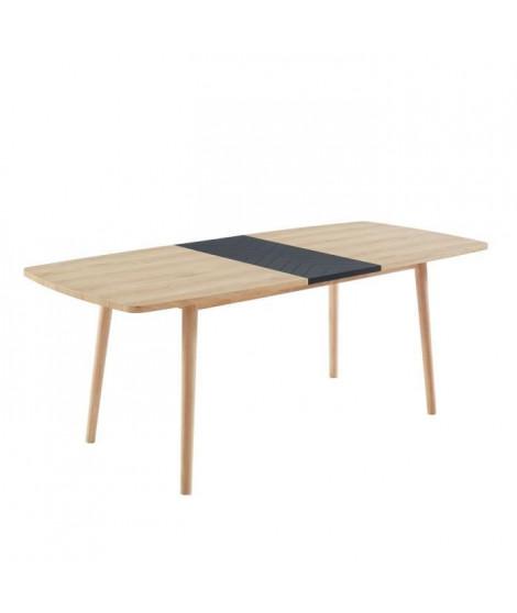 GALIA Table de séjour extensible L 160 a 200 cm - Décor chene et noir