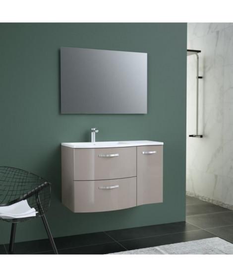 ONDE Meuble de Salle de bain simple vasque L 90cm - Taupe brillant