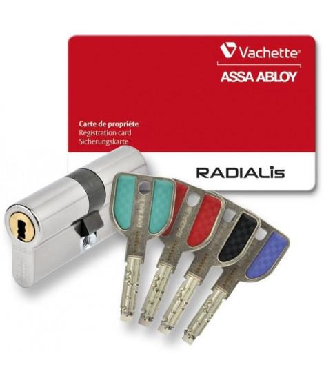 VACHETTE Cylindre Serrure Débrayable Radialis - Pour Porte Extérieure/Entrée - Haute Sécurité - 4 Clés Incopiables - 32,5x32,…