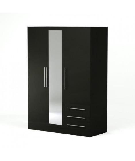 JUPITER Armoire de chambre style contemporain en bois aggloméré noir - L 144,6 cm
