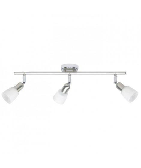 Plafonnier barre a 3 lumieres Sofia hauteur 10 cm E14 40W acier, chrome et blanc