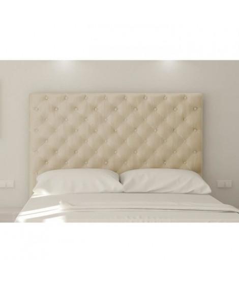 SOGNO Tete de lit capitonnée - Tissu microfibre creme - L 160 cm