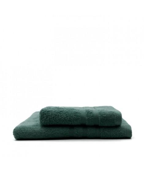 TODAY Lot de 1 Serviette de bain 50 x 100 cm + 1 Drap de bain 70 x 130 cm Emeraude - 100% coton