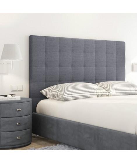 SOGNO Tete de lit capitonnée style contemporain - Tissu gris foncé - L 180 cm
