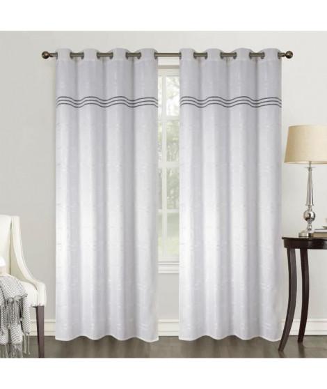 HOMETREND Paire de rideaux obscurcissant tissé quadrillé - 140 x 260 cm - Blanc