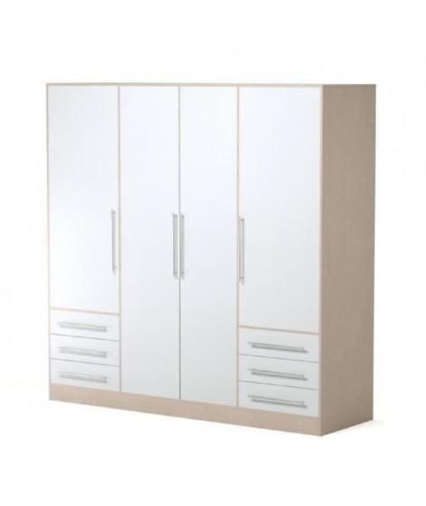 JUPITER Armoire de chambre style contemporain en bois aggloméré blanc et chene - L 206,5 cm