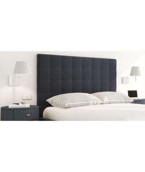 SOGNO Tete de lit capitonnée style contemporain - Tissu noir - L 180 cm