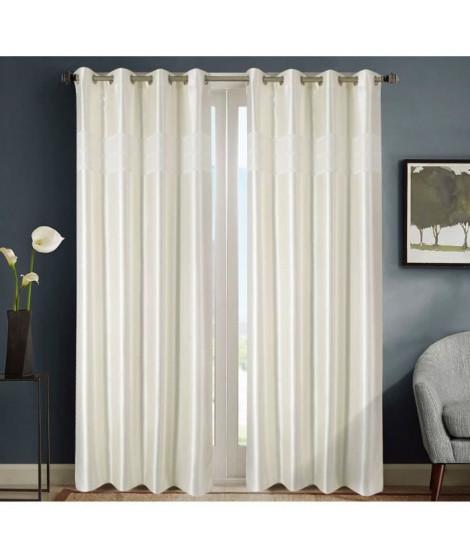 HOMETREND Paire de rideaux obscurcissant marbré bayadere - 140 x 260 cm - Blanc