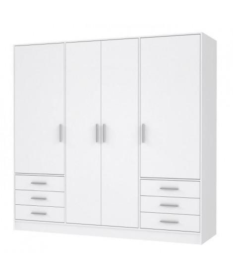 JUPITER Armoire 4 portes 6 tiroirs -  Blanc mat -  L 206,5 x P 60 x H 200 cm