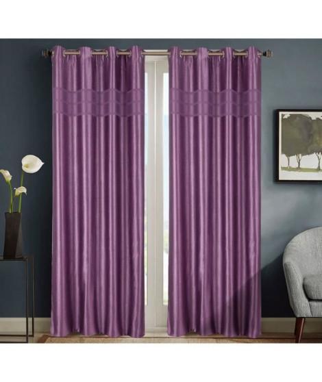 HOMETREND Paire de rideaux obscurcissant marbré bayadere - 140 x 260 cm - Violet