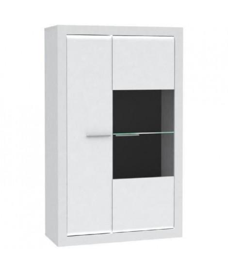 L-LIGHT Vitrine contemporain mélaminé blanc mat et brillant + poignée en métal - L 98 cm