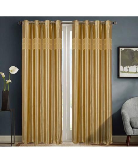 HOMETREND Paire de rideaux obscurcissant marbré bayadere - 140 x 260 cm - Moutarde