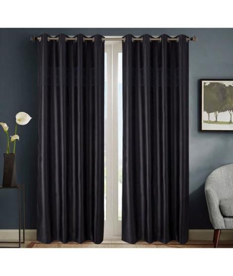 HOMETREND Paire de rideaux obscurcissant marbré bayadere - 140 x 260 cm - Noir