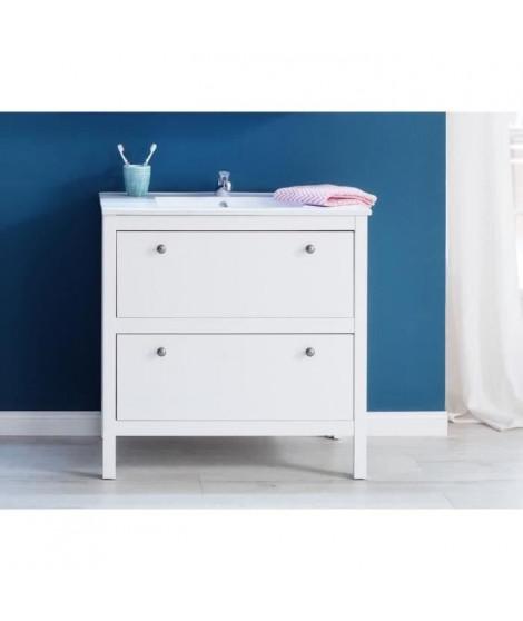 OLE Meuble de salle de bain simple vasque L 80 cm - Blanc mat