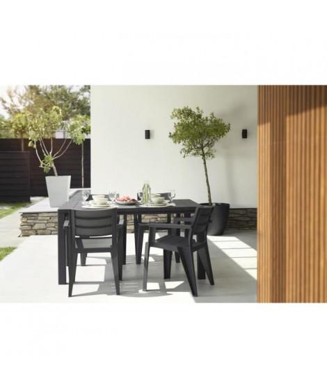 Table imitation bois ALLIBERT 4 a 6 personnes JULIE Graphite