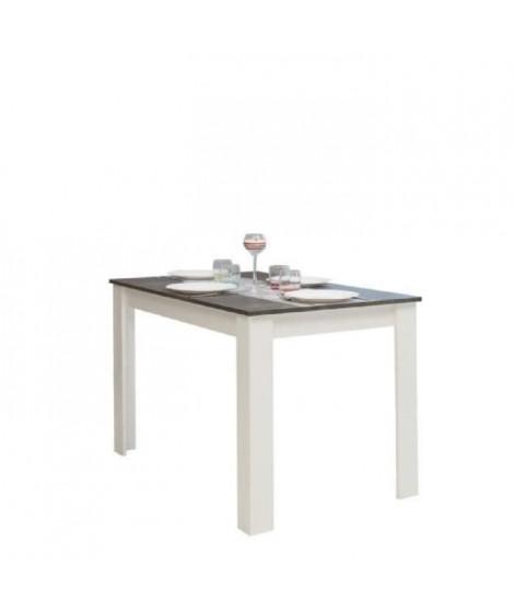 PEPPER Table a manger 4 a 6 personnes style contemporain mélaminée blanc mat et décor béton - L110xl70 cm