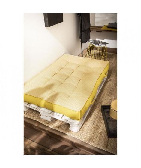 TODAY Matelas Palette Réversible - 100% Coton - Jaune - 120x80x15 cm SPIRIT GARDEN