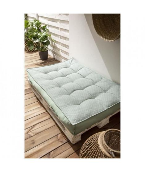TODAY Matelas Palette Réversible - 100% Coton - Vert - 120x80x15 cm SPIRIT GARDEN