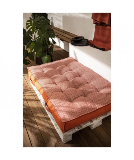 TODAY Matelas Palette Réversible - 100% Coton - Orange - 120x80x15 cm SPIRIT GARDEN