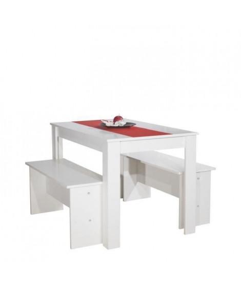 SALT Ensemble table a manger de 4 personnes + 2 bancs contemporain blanc - L 110 x l 70 cm