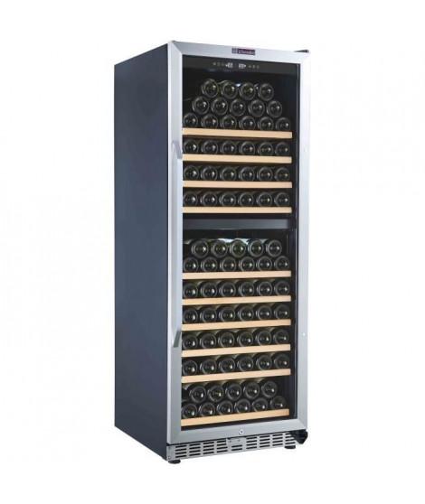 LA SOMMELIERE MZ2V135 - Cave a vin de vieillissement DOUBLE ZONE , 135 bouteilles, 1 porte vitrée, 9 clayettes coulissantes bois