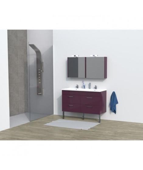 REGA Salle de bain complete double vasque L 120 cm - Aubergine brillant