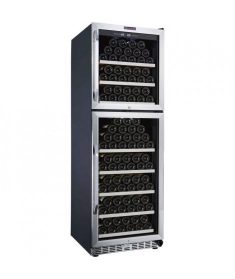 LA SOMMELIERE MZ2V165 - Cave a vin de mise en température -DOUBLE ZONE , 165 bouteilles, 2 portes vitrées, 8clayettes, classe B