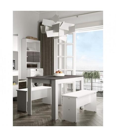SALT Ensemble table a manger de 4 personnes + 2 bancs contemporain blanc et béton - L 110 x l 70 cm