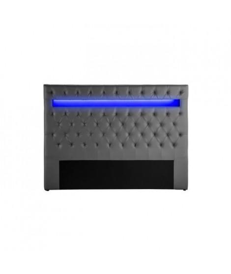 CELESTE Tete de lit avec LED style contemporain - Simili gris - L 170 cm