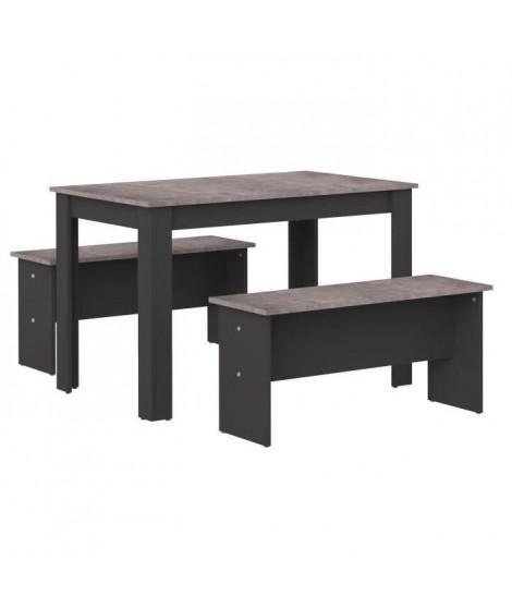 SALT Ensemble Table a manger 4 a 6 personnes + 2 bancs NICE - Contemporain - Noir et effet béton - L 110 x l 70 et L 84,4 x P…