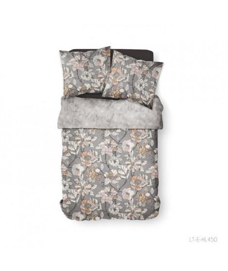 Parure de lit 2 personnes 220X240 Coton imprime gris Floral SUNSHINE