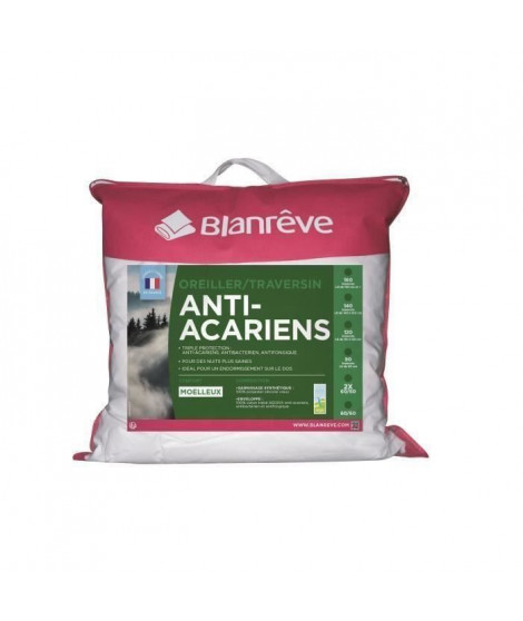 BLANREVE Lot de 2 oreillers anti-acariens 60 cm