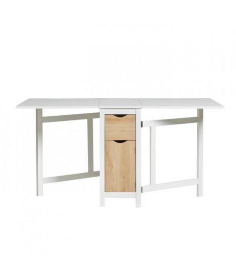 ELIA Table a manger pliante - Décor chene et blanc - L 152 x P 89 x H 75 cm