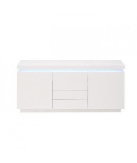 FLASH Buffet bas avec LED contemporain blanc laqué brillant - L 175 cm