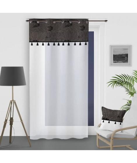 SOLEIL D'OCRE Voile a oeillets Oasis - 100% coton - 135 x 250 cm - Noir
