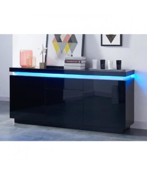 FLASH Buffet bas avec LED contemporain noir laqué brillant - L 175 cm