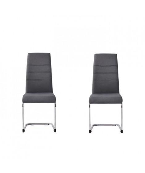 JANE Lot de 2 chaises - Pied chromé - Tissu gris anthracite - L 42 x P 56 x H 99 cm